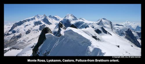 View from Breithorn to Monte Rosa
