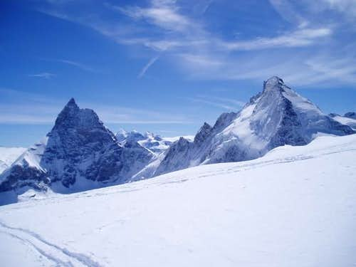 Matterhorn and Dent d'Herens...