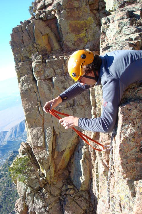 setting up belay station for 5.10 finish