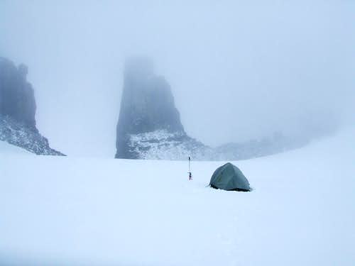 High camp at the top of the Kitchi Icefield.
