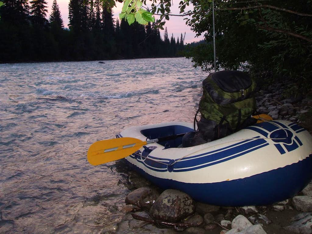 Dinghy to cross the swift McGregor River
