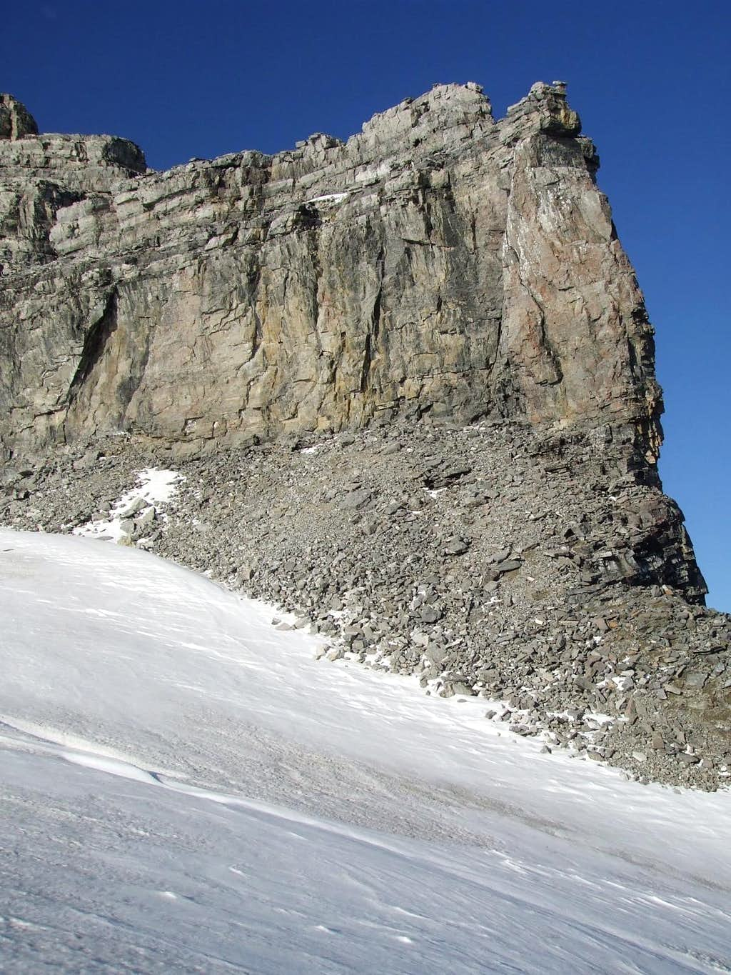 Three-frame panorama of the SW face of Mount Sir Alexander (3/3)