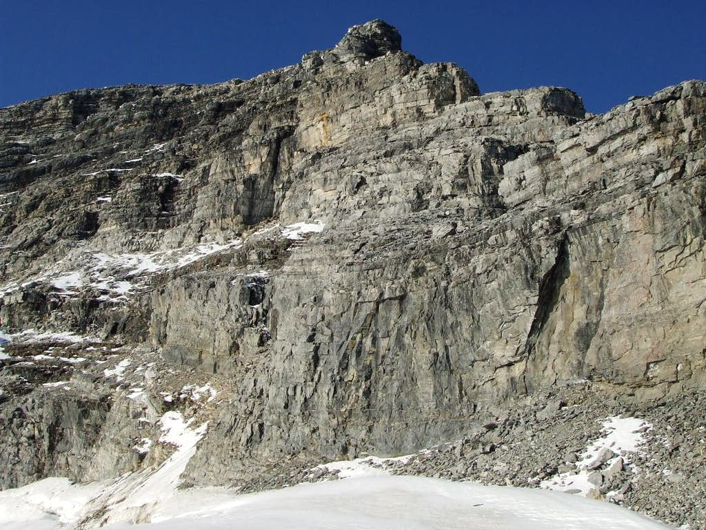 Three-frame panorama of the SW face of Mount Sir Alexander (2/3)