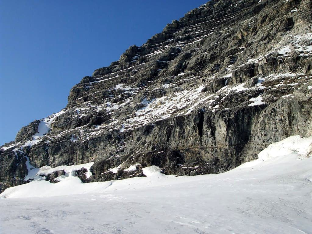 Three-frame panorama of the SW face of Mount Sir Alexander (1/3)