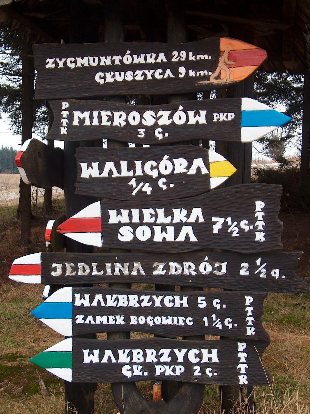 Sign at Andrzejówka hut on Waligóra