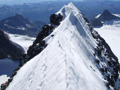 Summit ridge of Mount Sir Alexander is a knife-edge
