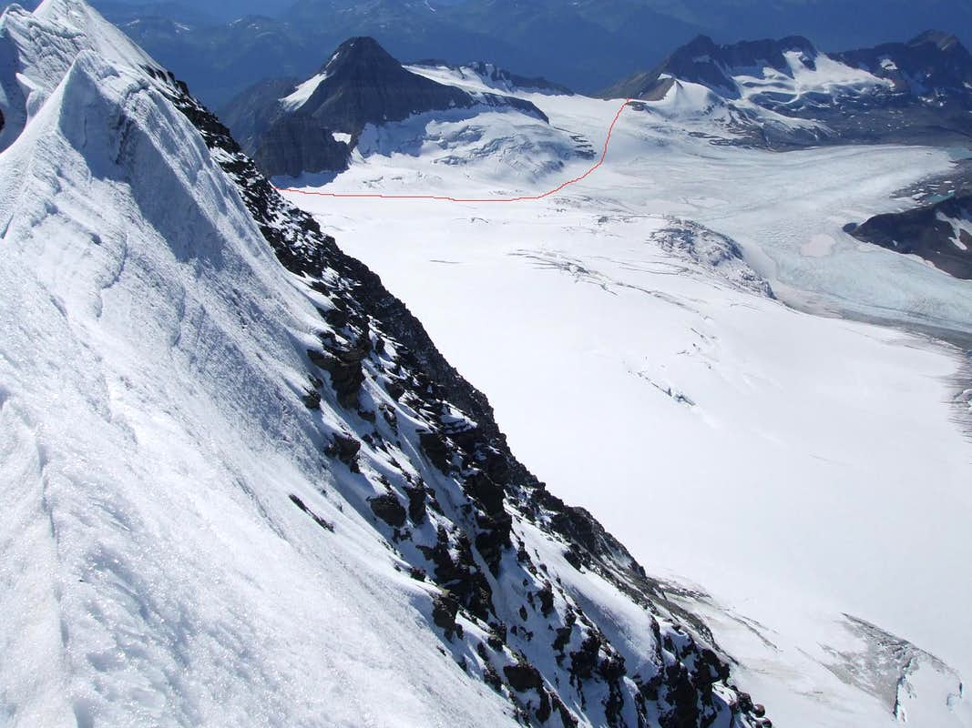Kitchi Icefield showing route around Pommel Mountain