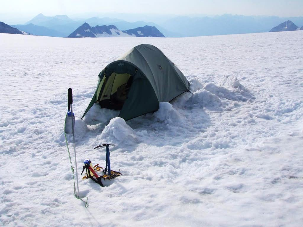 Tent perched on a pedestal