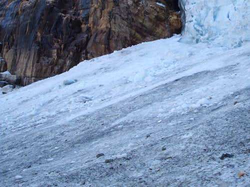 As close as safely possible to the impact zone of the icefall