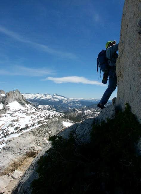 A climber on the summit pitch...