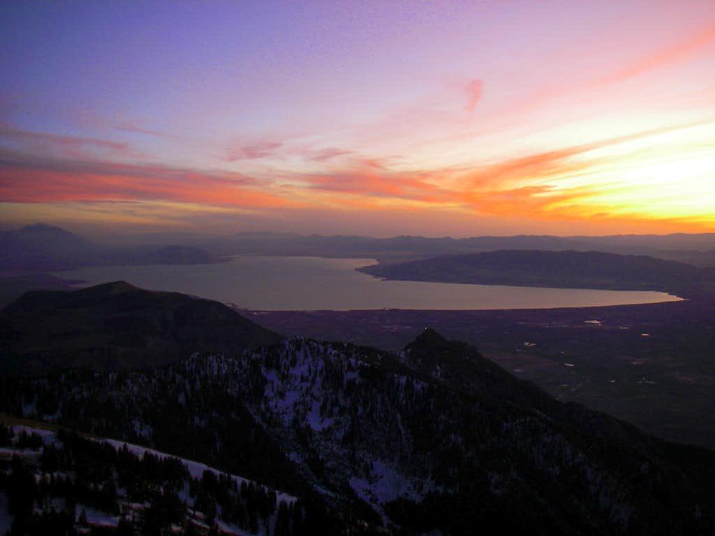 A sunset over Utah Lake
