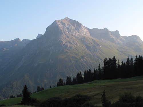 The Omesberg (2558 metres), the mountain which dominates the village of Lech am Arlberg