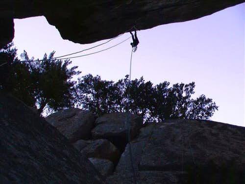 Dave Daly on the overhanging...