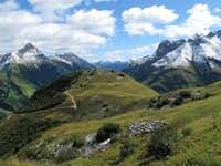 View down the Lechtal valley from Steffisalpe above Warth