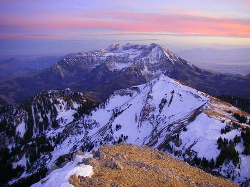 Sharing a beautiful sunset with the summit of Box Elder Peak