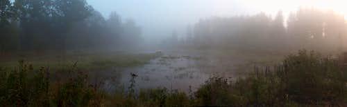 Rudawy Janowickie, mist near the Karpniki lakes
