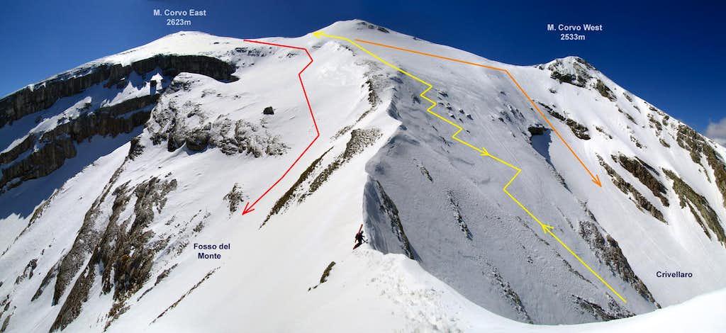 Ski routes of Monte Corvo