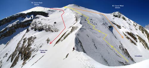 Ski routes of Monte Corvo
