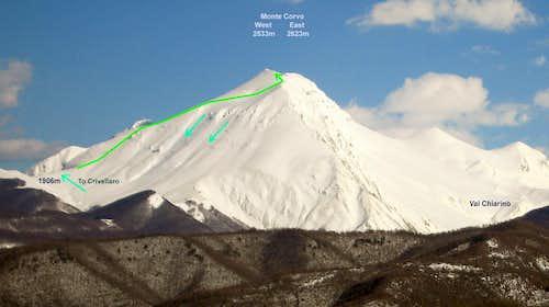 Monte Corvo, Campiglione route