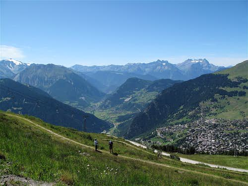 View to Verbier and the Dents du Midi from Ruinettes