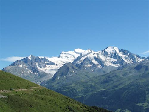 View to Grand and Petit Combin from Ruinettes above Verbier