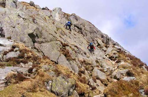 Scramble at West end of Bwlch Eryl Farchog