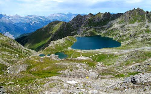 Lacs des Vaux above Verbier, seen from the Col du Creblet