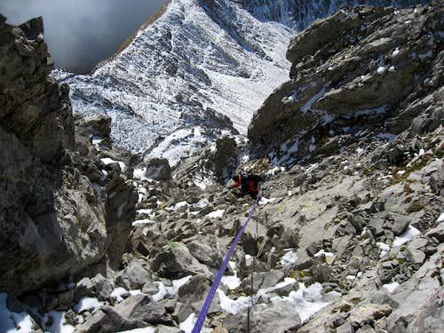 Pointe Percée climbing down