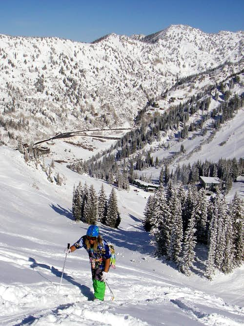 Troy skinning up to Mt Baldy
