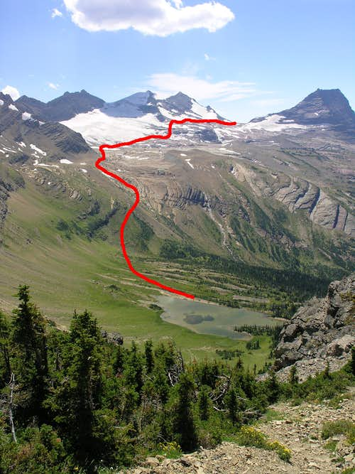The Route from Mary Baker Lake to Comeau Pass