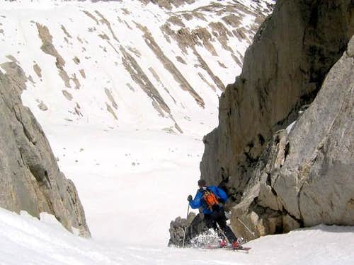 Skiing the North Couloir on...