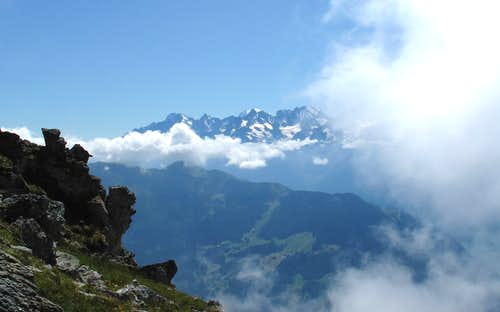 View to the Mont Blanc group from the Attelas above Verbier