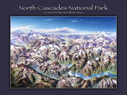 Heinrich Berann illustration - North Cascades