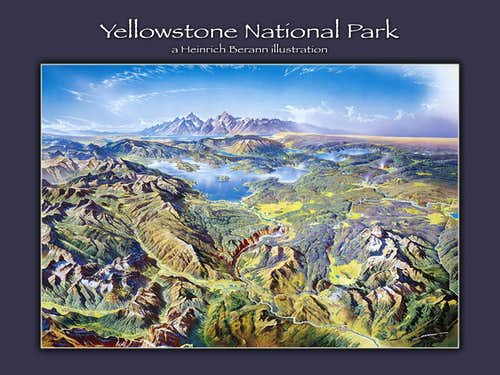 Heinrich Berann illustration - Yellowstone