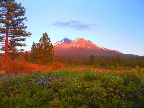 Sunset on Mt. Shasta from the north