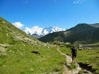 Hiking down to Zermatt
