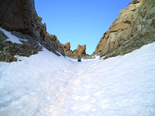 Looking up the couloir at a...