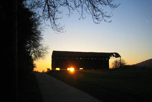 Kent Barn at Sunset