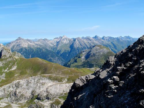 View to the Allgäu Alps from the path up Rüfispitze