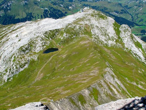 View down to Lake Monzabon from the top of the Rüfispitze