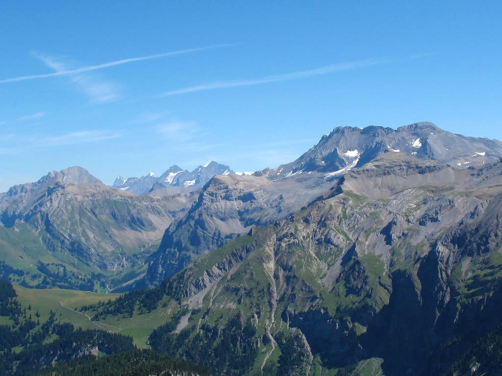 Close-up view of the Wildstrubel, with Blümlisalp and Eiger in the background