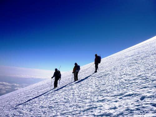 Mexican team descending the Jamapa glacier