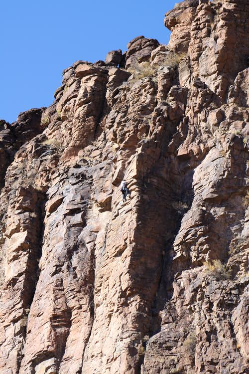 climber on winter wall