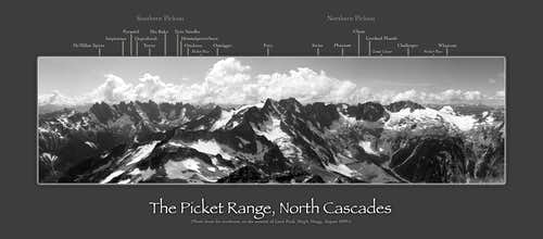 Labeled panorama of the Picket Range