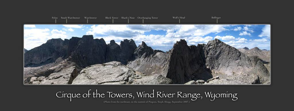 Labeled panorama of the Cirque of the Towers