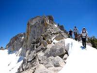 Descending the north ridge...