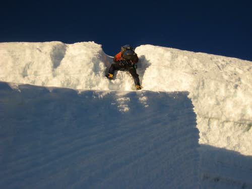 Final vertical 4 meters to the summit
