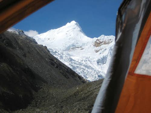 View of Tocllaraju from inside my tent in the Inshinca Valley