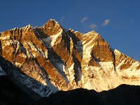 Lhotse face on sunset from Chukung
