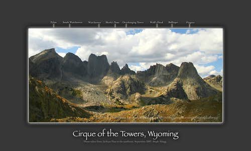 Labeled panorama of the Cirque of the Towers (version 2)